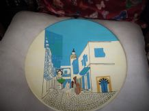 "LARGE 13"" WALL DISPLAY PLATE EASTERN INFLUENCE DESIGN MOROCCO ? TURKEY ?"